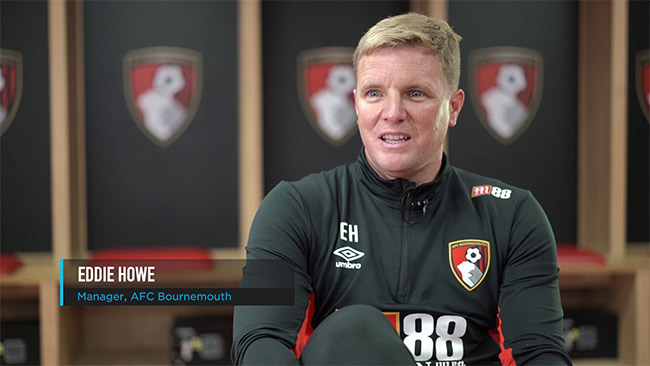 Eddie Howe manager of Bournemouth AFC being interviewed by Bevis Productions