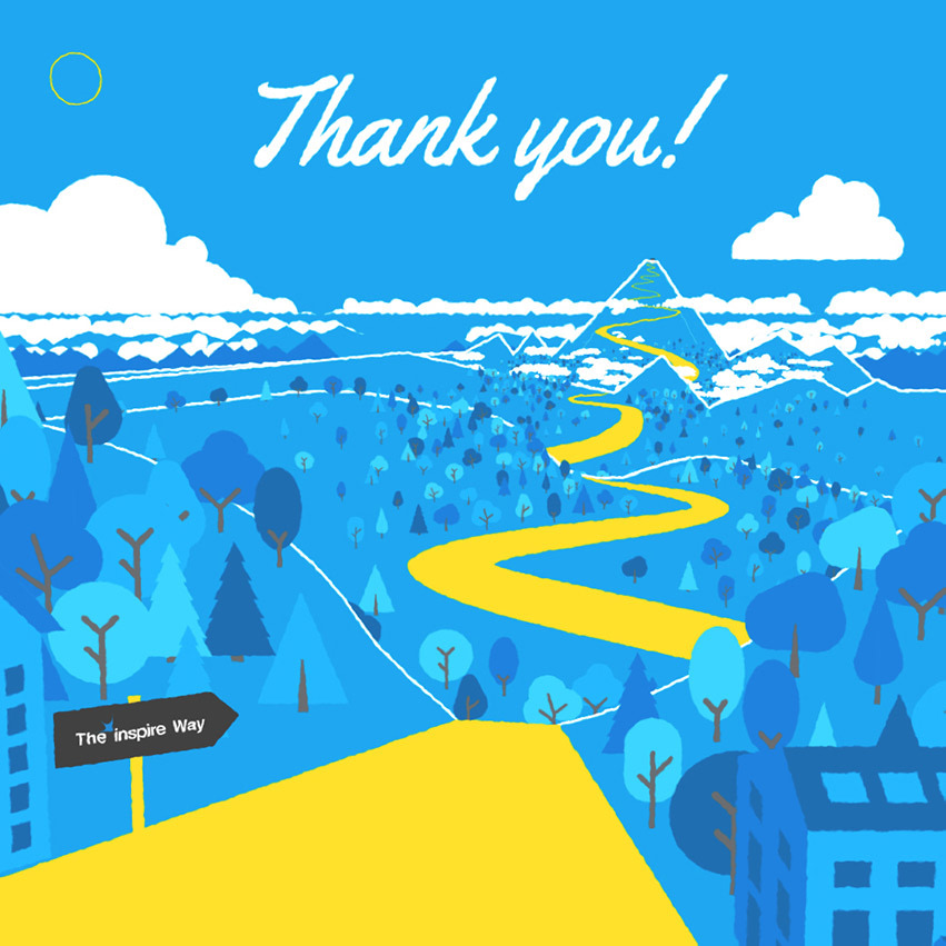 Thank you! above a winding yellow path through a blue valley