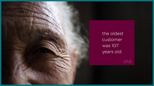 The oldest customer was 107 years old