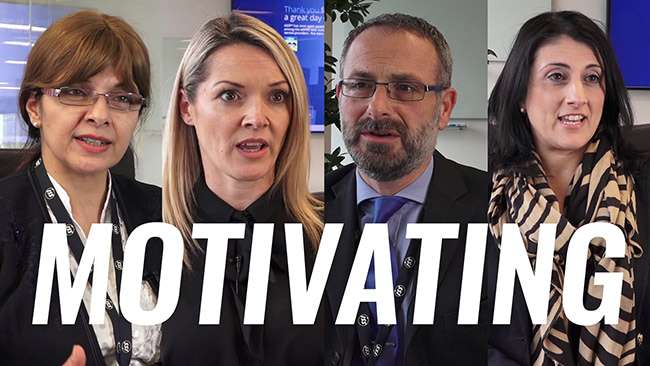 A video with four employees at ISS Facility Services talking about motivating