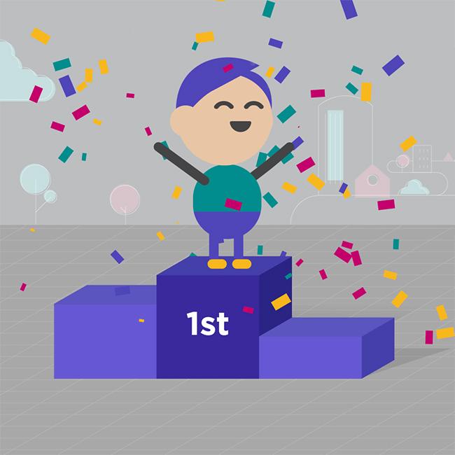 first place podium winner celebration
