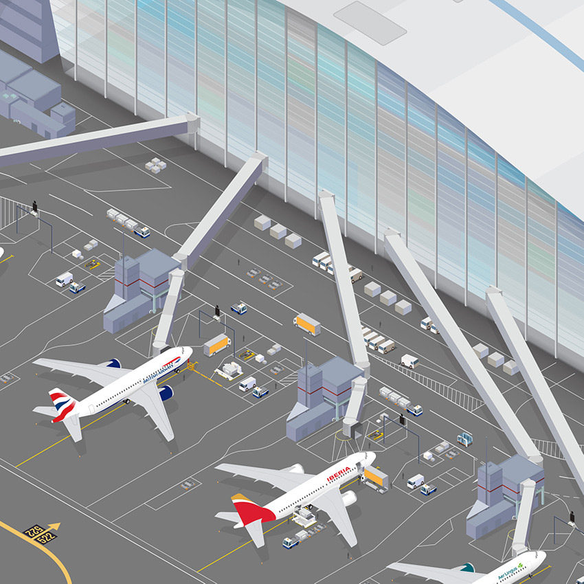 isometric illustration of planes at Heathrow T5