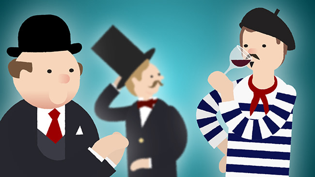 A cartoon animation of a bank manager and a shareholder and a frenchman