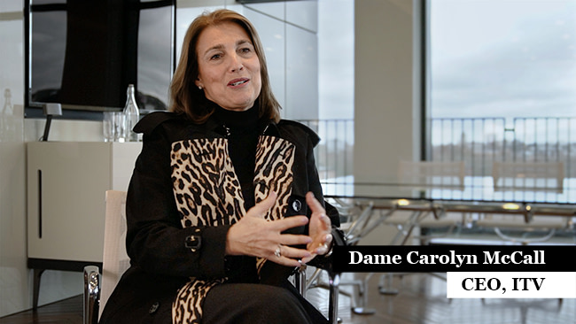 Dame Carolyn McCall, CEO of ITV being interviewed by bevis Productions