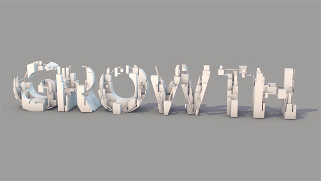 An animation still of the word GROWTH for ISS facility services